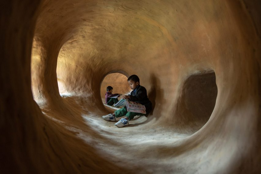 Rammed-earth cave-like structure