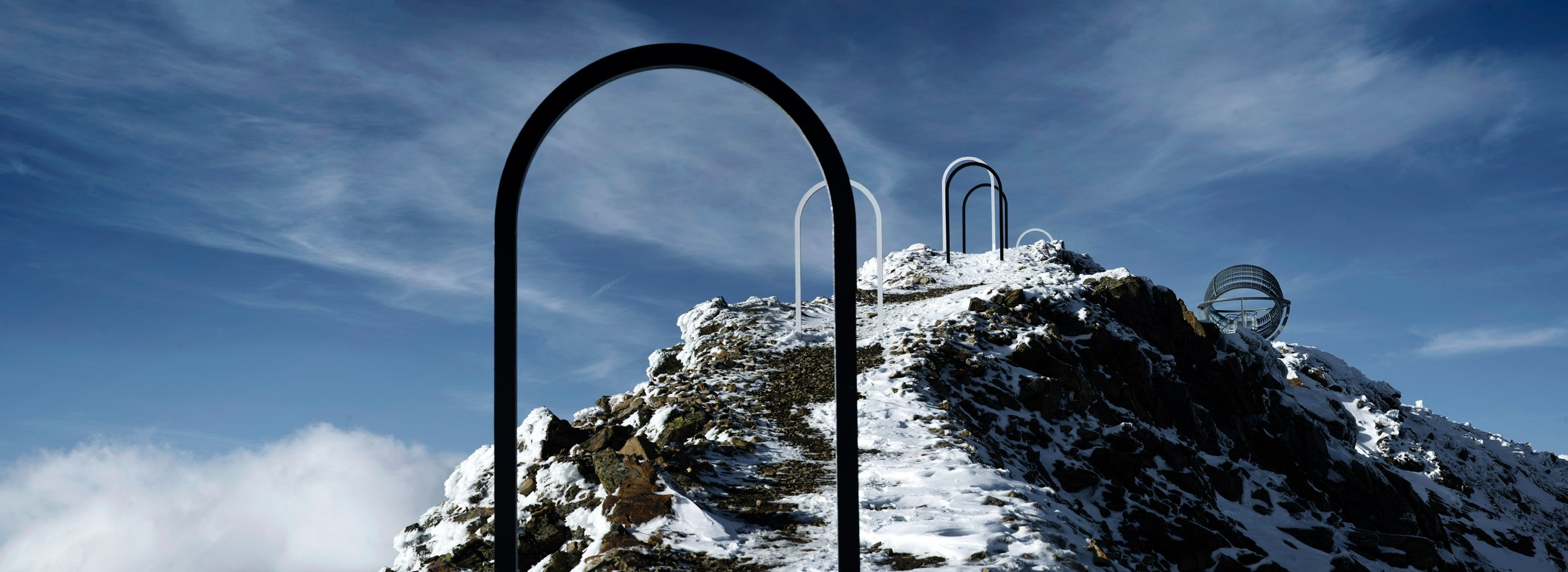 Olafur Eliasson's Out Glacial Perspectives installation on Hochjochferner glacier