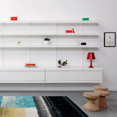 ON&ON's shelving system with cabinet units