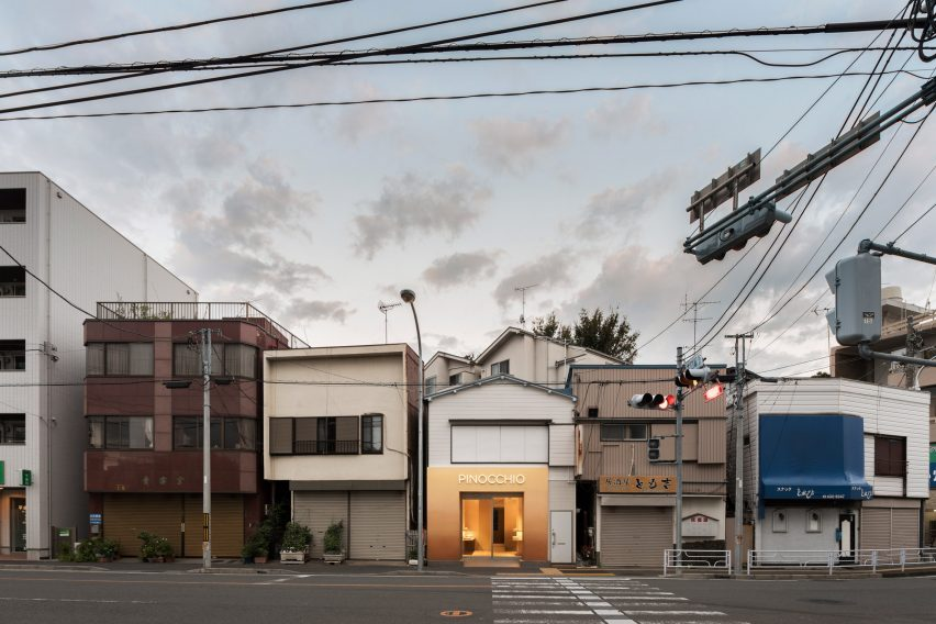 Exterior of Pinocchio tiny bakery in Japan by I IN