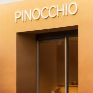 Sign for Pinocchio tiny bakery in Japan by I IN