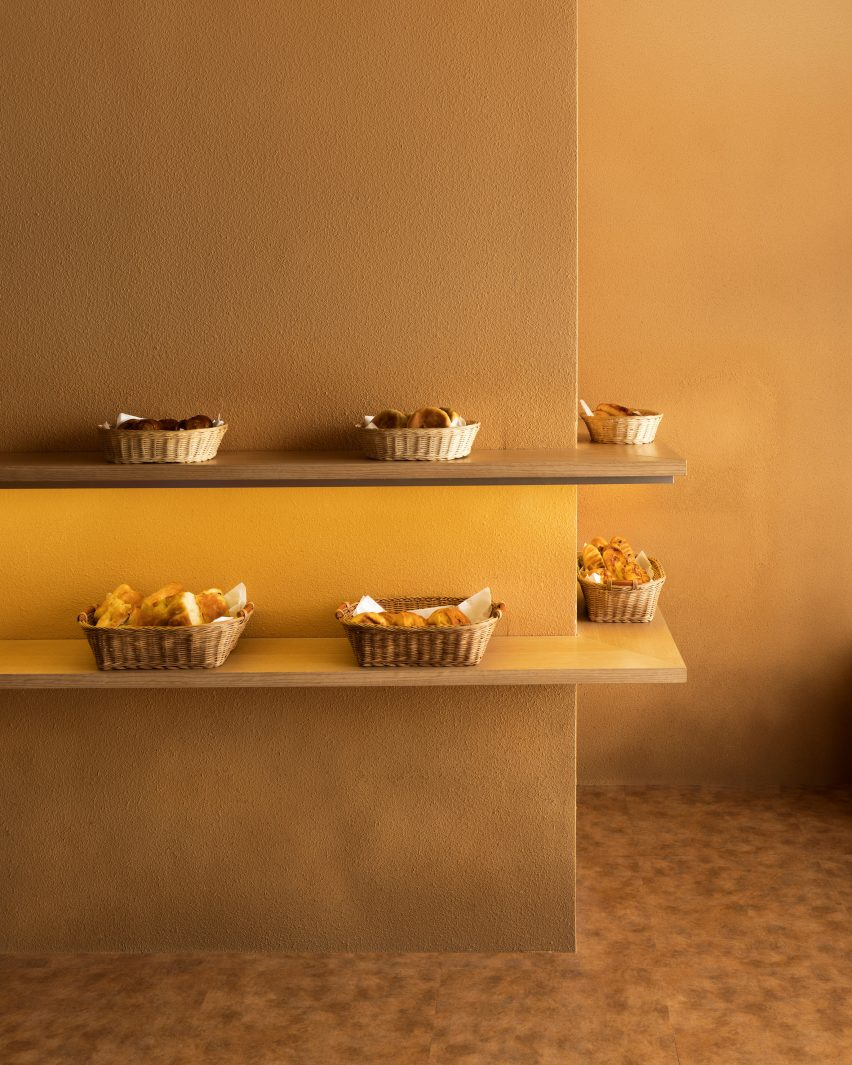 Display shelves of Pinocchio tiny bakery in Japan by I IN