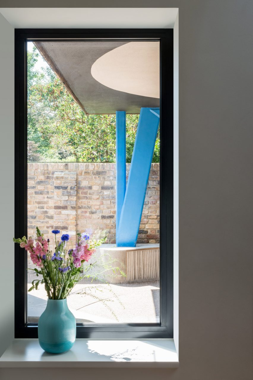 Angled blue column