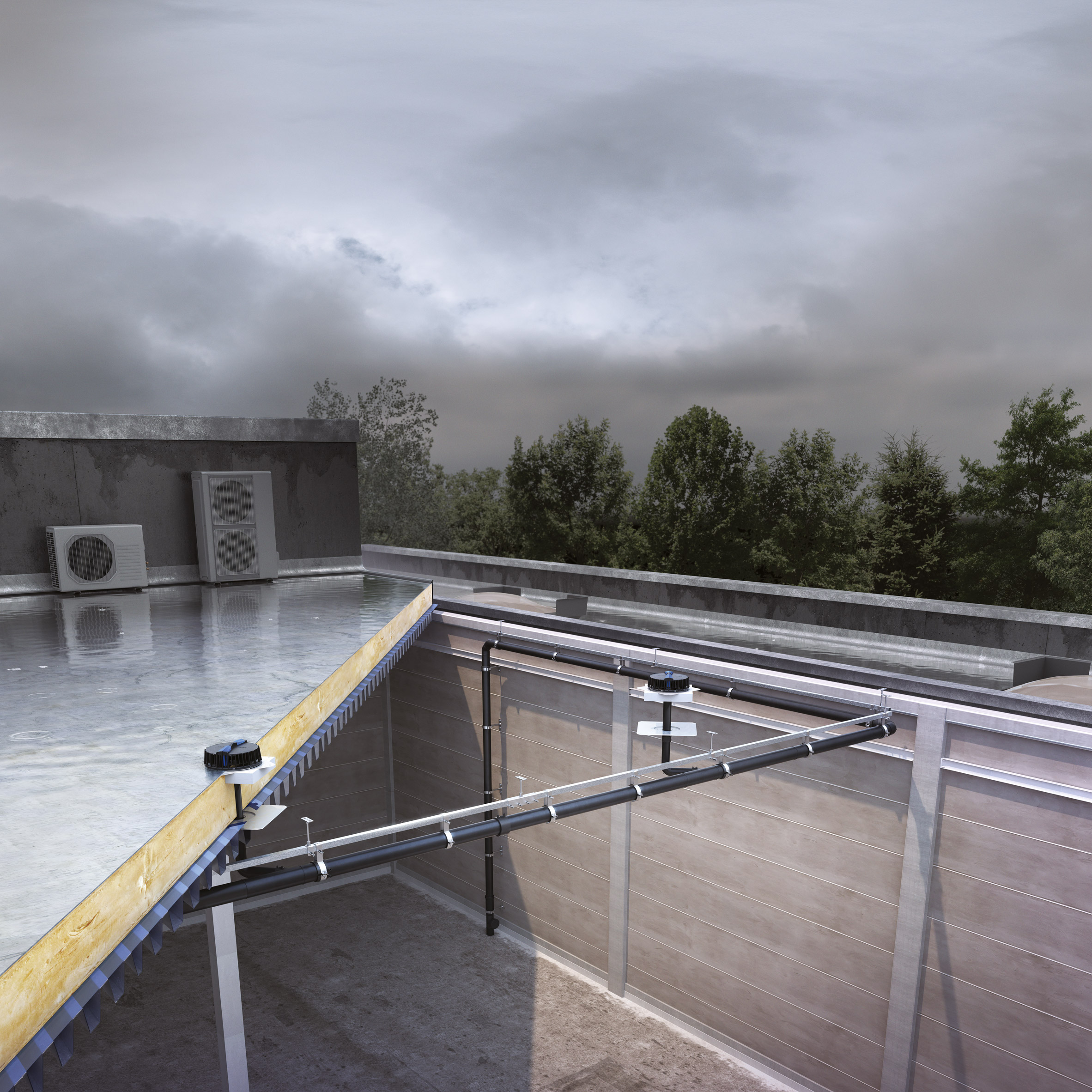 The Pluvia roof outlets by Geberit