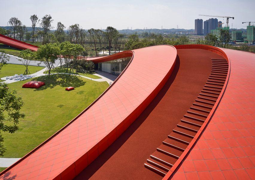 Red rubber asphalt walking track