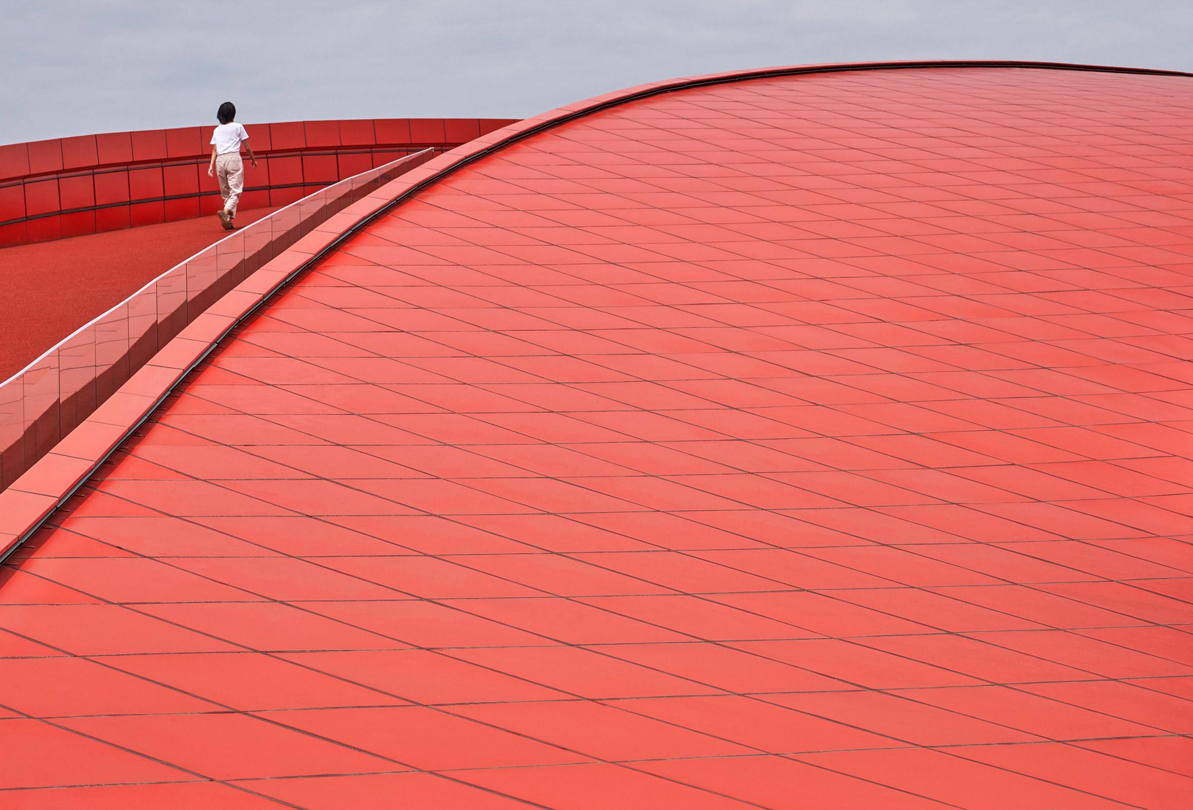 Red aluminium tiles