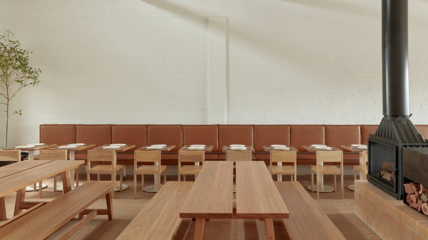 Wooden furniture features in Melbourne's Prior cafe