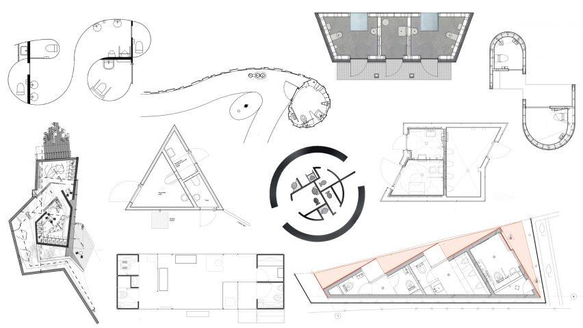 Public toilet floor plans