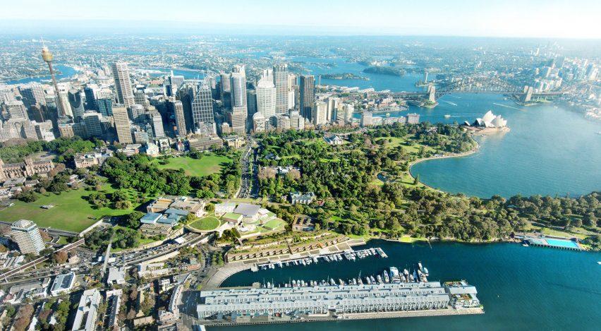 Galeria de arte de New South Wales perto do porto de Sydney