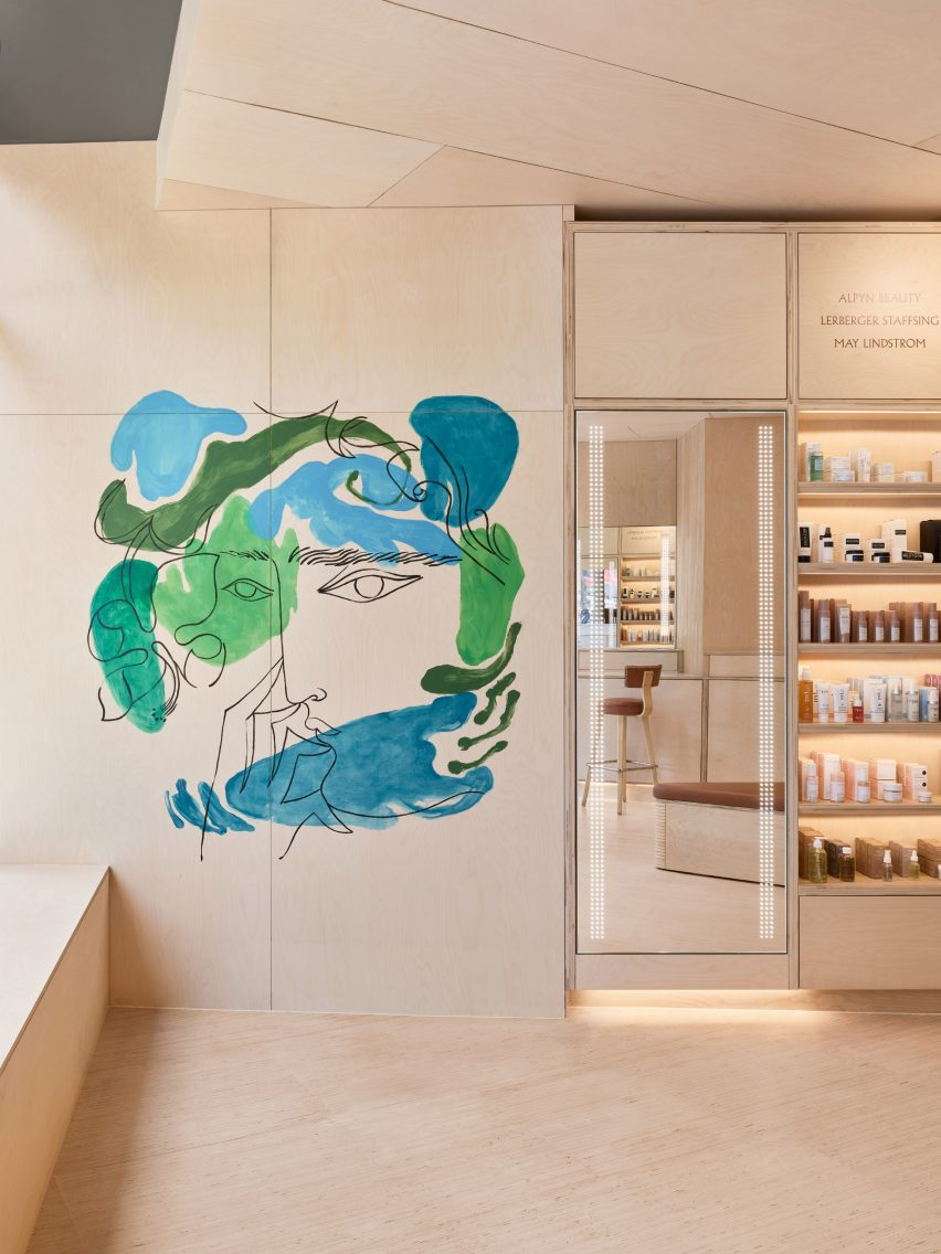 Colourful wall murals feature in Shen's Brooklyn store