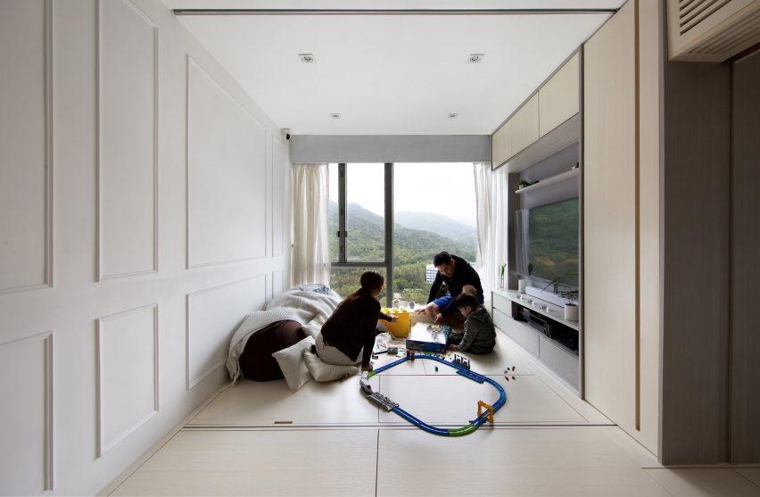 Living area Smart Zendo by Sim-Plex Design Studio in Hong Kong