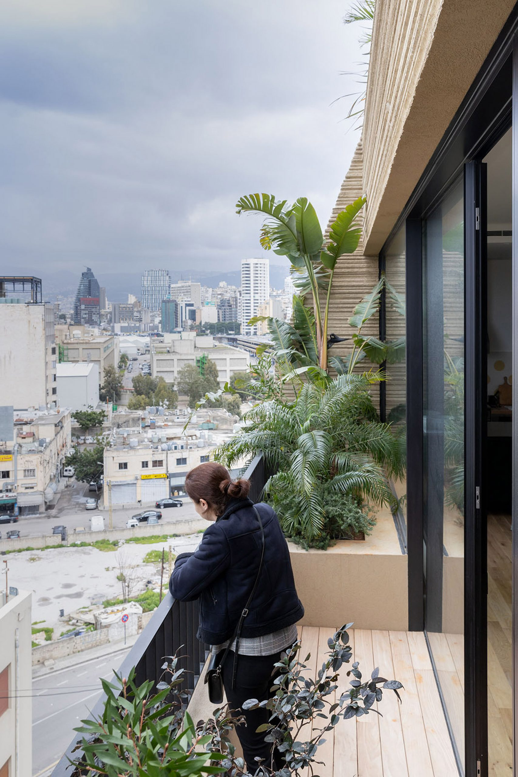 Balcony of Stone Garden by Lina Ghotmeh in Beirut