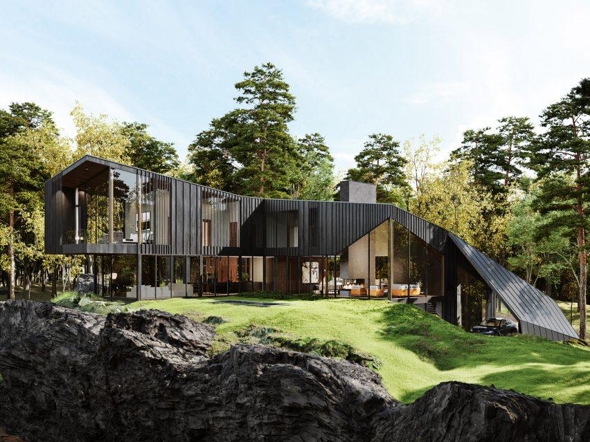 Exterior de cedro preto da casa Sylvan Rock por S3 Architecture e Aston Martin