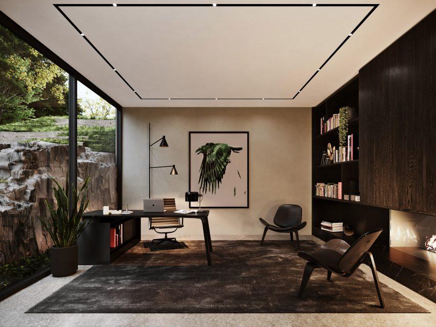 Escritório doméstico da Sylvan Rock house por S3 Architecture e Aston Martin