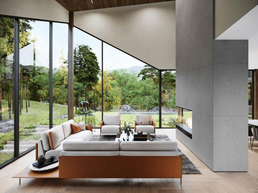 Lounge of Sylvan Rock house por S3 Architecture e Aston Martin