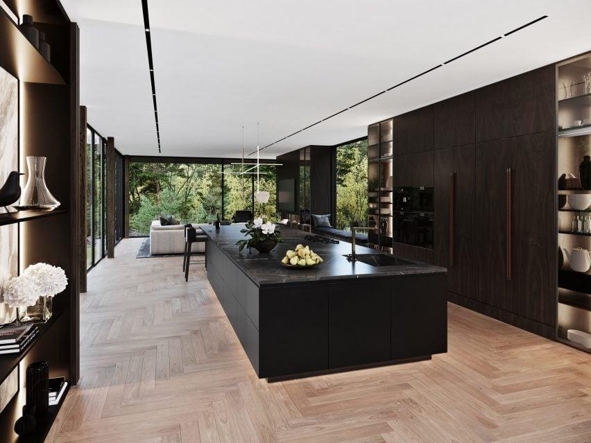 Cozinha da casa Sylvan Rock por S3 Architecture e Aston Martin