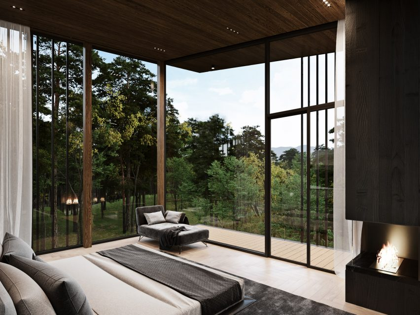 Bedrooms of Sylvan Rock house by S3 Architecture and Aston Martin