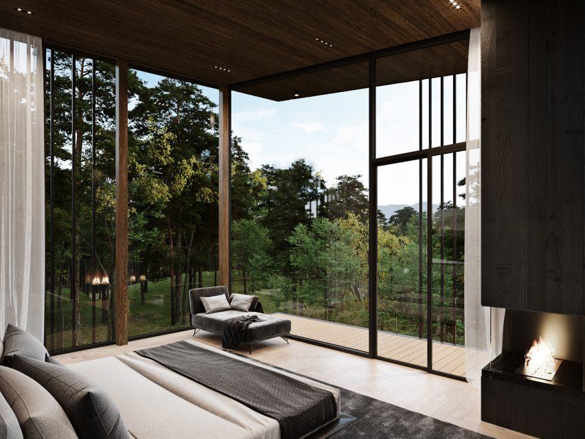 Quartos da Sylvan Rock house por S3 Architecture e Aston Martin