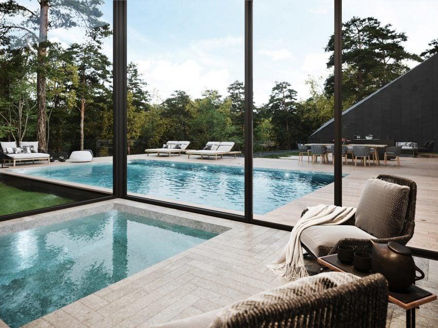 Área da piscina da casa Sylvan Rock por S3 Architecture e Aston Martin