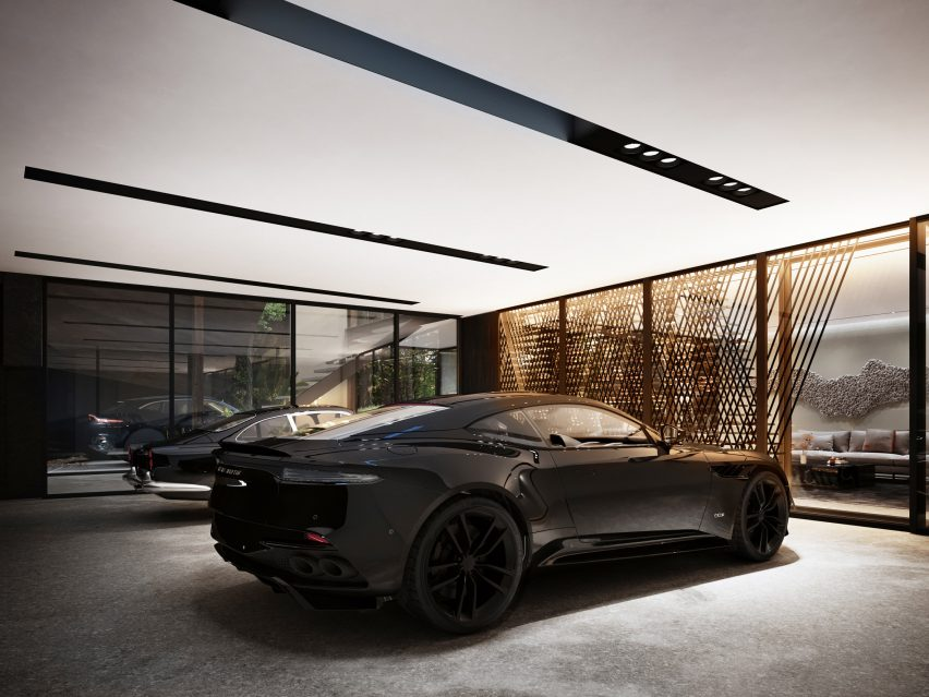 Garage of Sylvan Rock house by S3 Architecture and Aston Martin