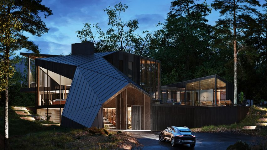 Black-cedar exterior of Sylvan Rock house by S3 Architecture and Aston Martin