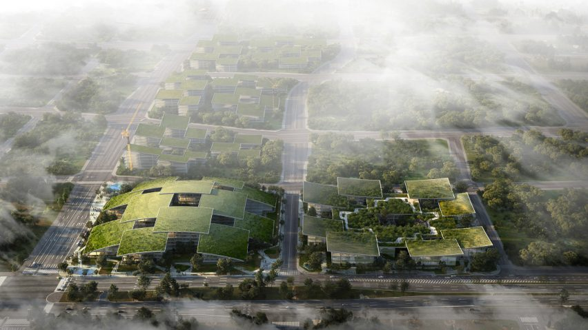 Green roods of AI City and Cloud Valley campus designed by BIG for Terminus Group