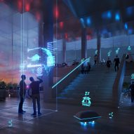 Robots in renders for AI City and Cloud Valley campus designed by BIG for Terminus Group