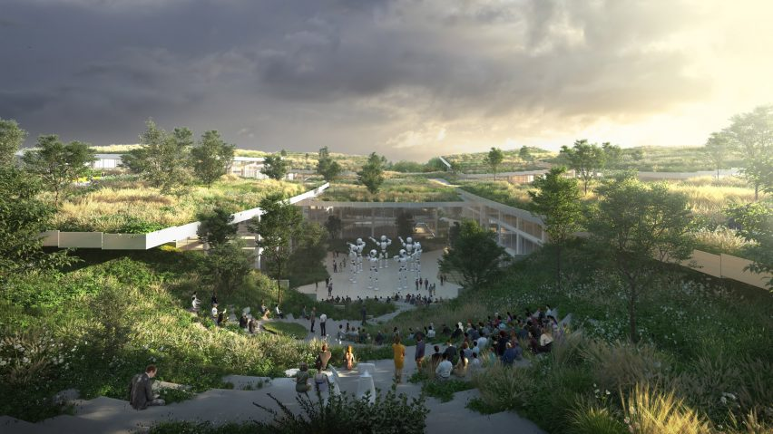 Green roofs of AI City and Cloud Valley campus designed by BIG for Terminus Group