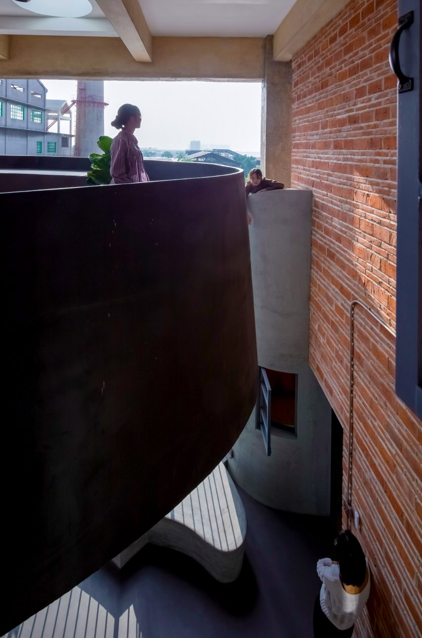 Staircase of Borderless Community of Zi Ni Twelve Portals, housing project designed by Fei Architects in Guangzhou, China