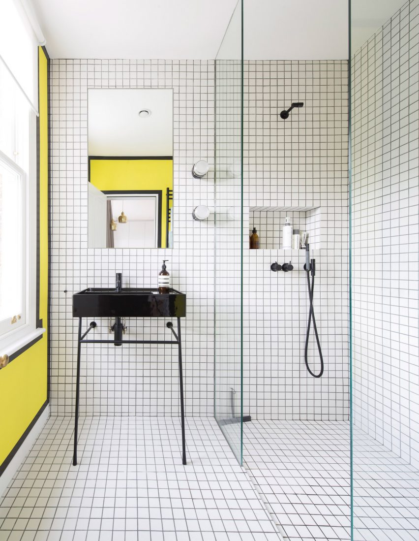 Bathroom with bright yellow wall