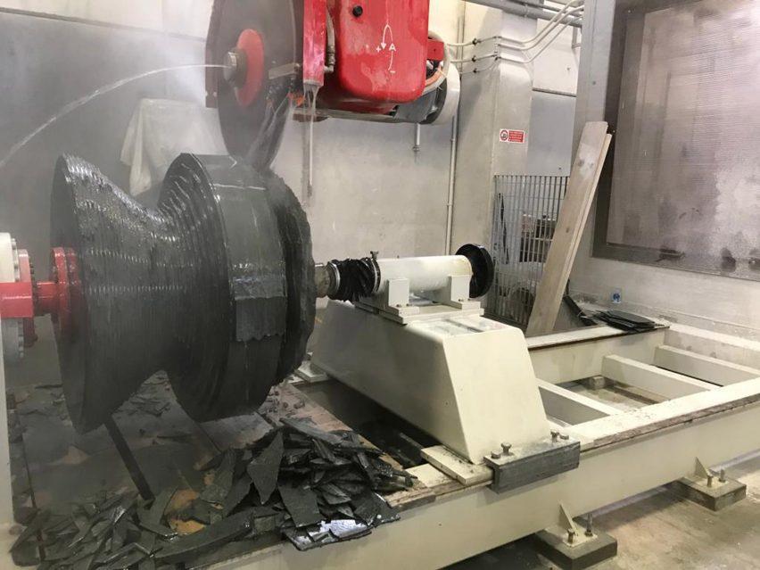 Granite chair being cut