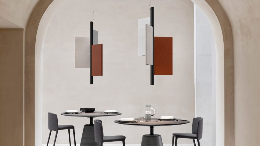 Trypta lamp by Luceplan and Stephen Burks features acoustic panels