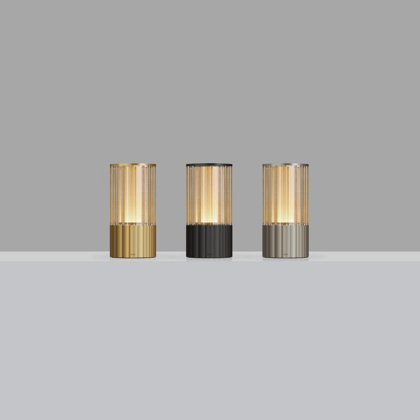 Voltra Reeded cordless lamps by Arnold Chan for Voltra