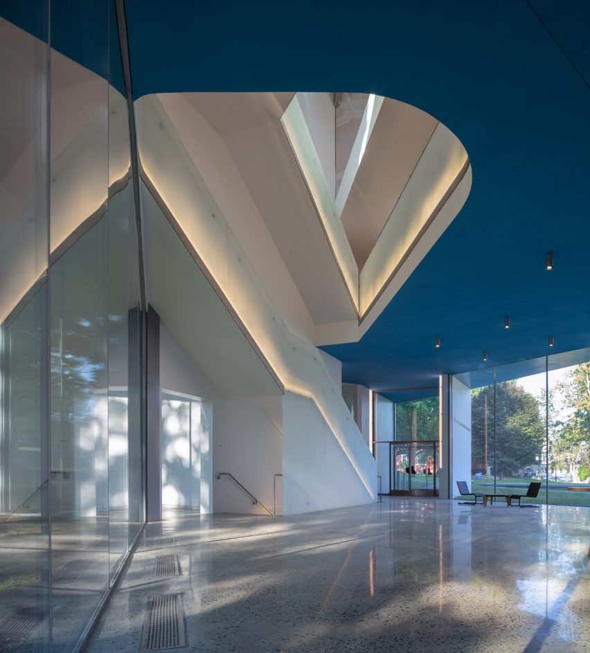 Entrance of Winter Visual Arts Building by Steven Holl Architects in Lancaster, Pennsylvania