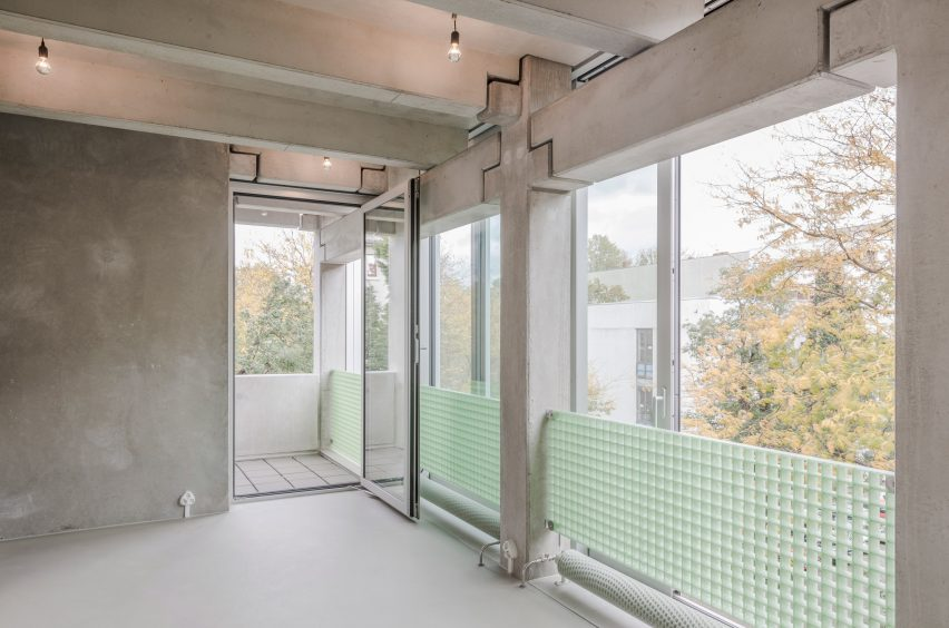 Interior of Wohnregal prefabricated concrete housing block by FAR in Berlin, Germany