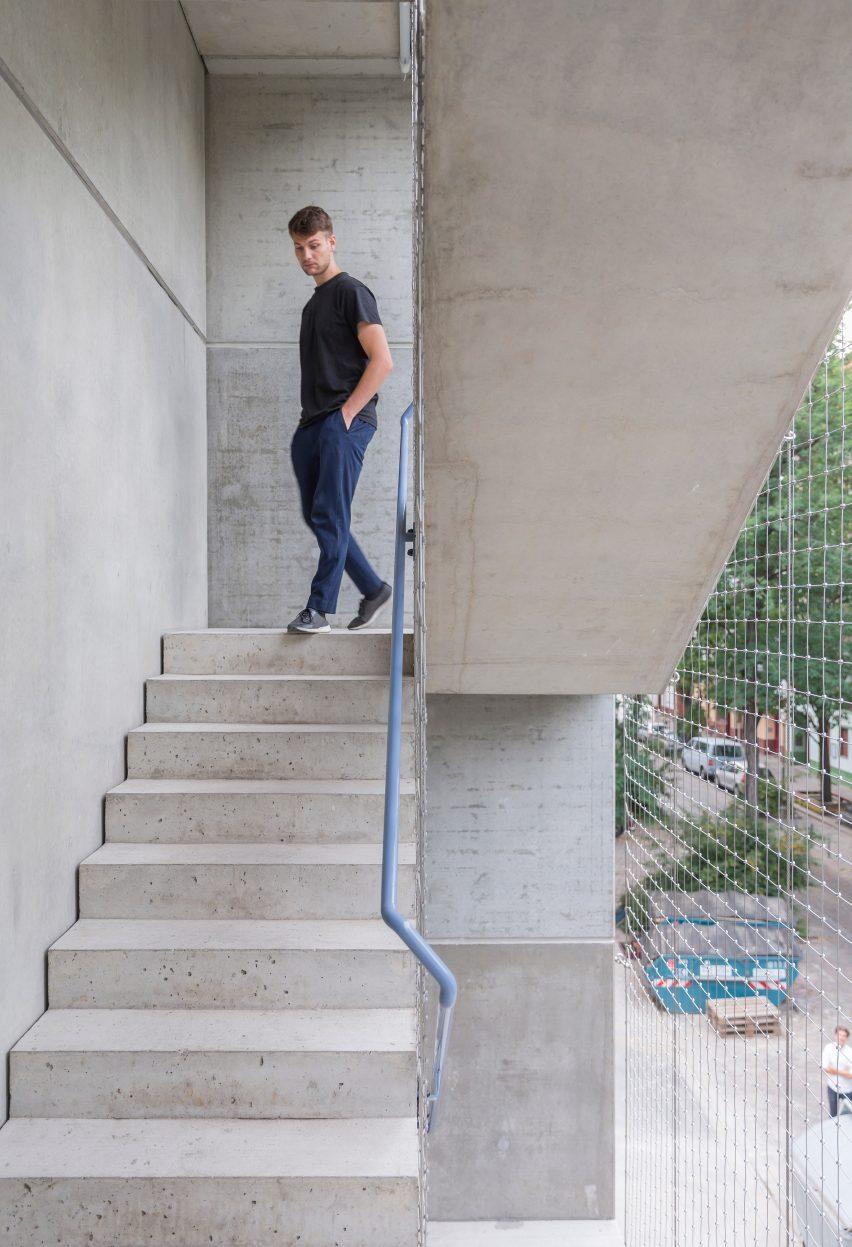 Precast concrete of Wohnregal, a prefabricated housing block by FAR in Berlin, Germany