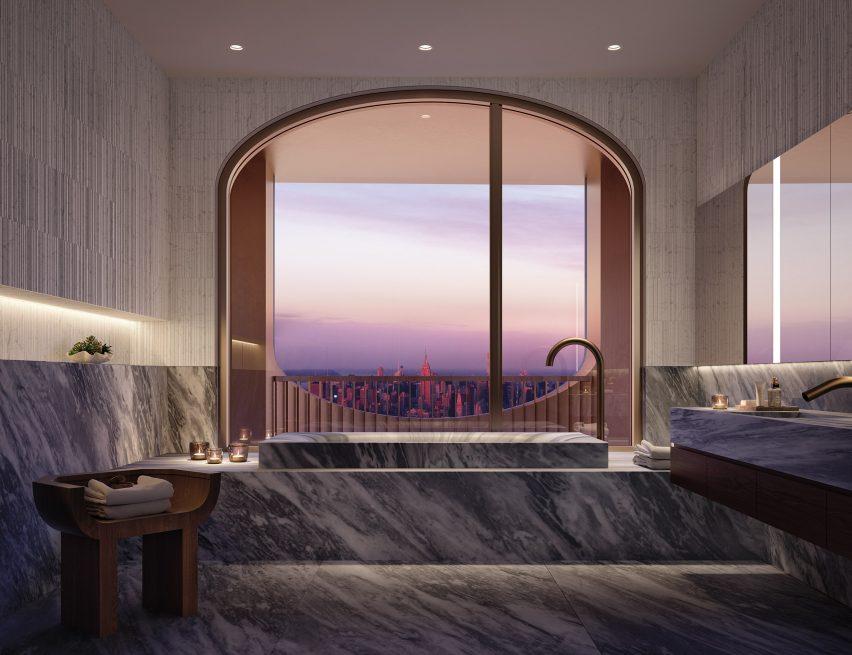 Master bathroom in Aston Martin Residences by David Adjaye and Aston Martin