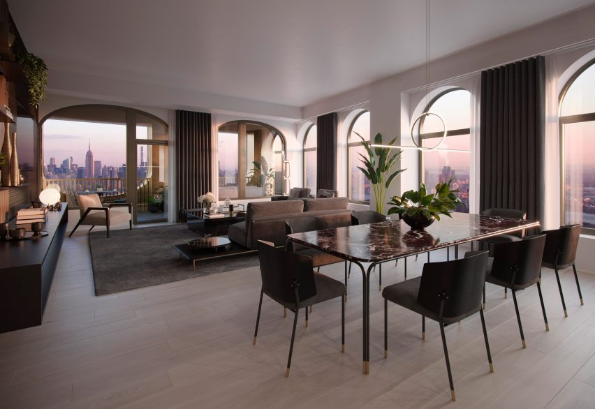 Living room and kitchen in Aston Martin Residences by David Adjaye and Aston Martin