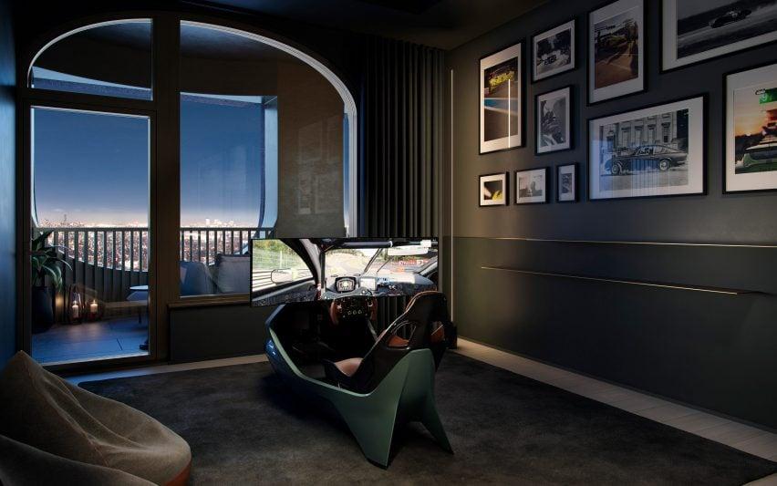 Racing simulator in Aston Martin Residences by David Adjaye and Aston Martin