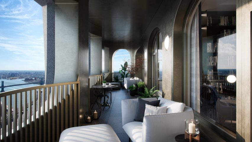 Outdoor space in Aston Martin Residences by David Adjaye and Aston Martin