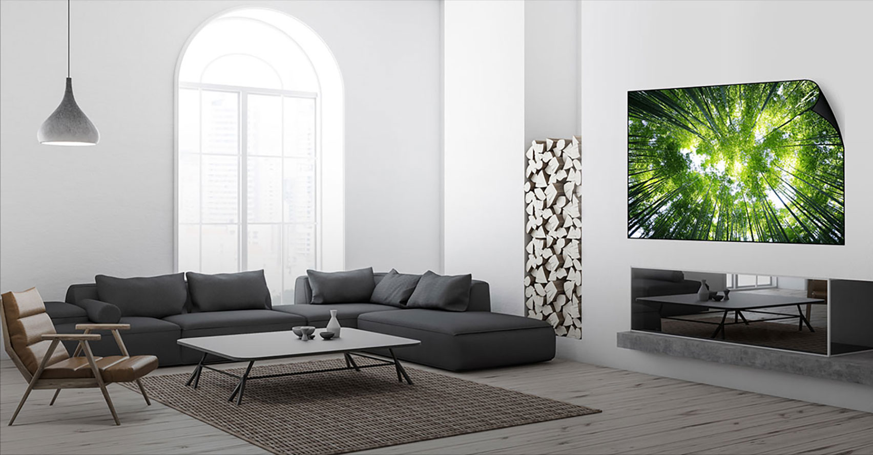 Render of a flexible OLED television by LG Display