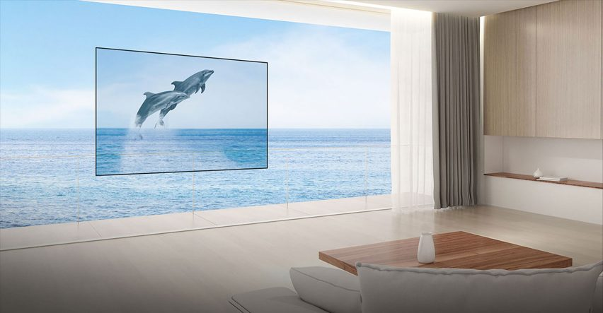 Render of a transparent OLED television by LG Display