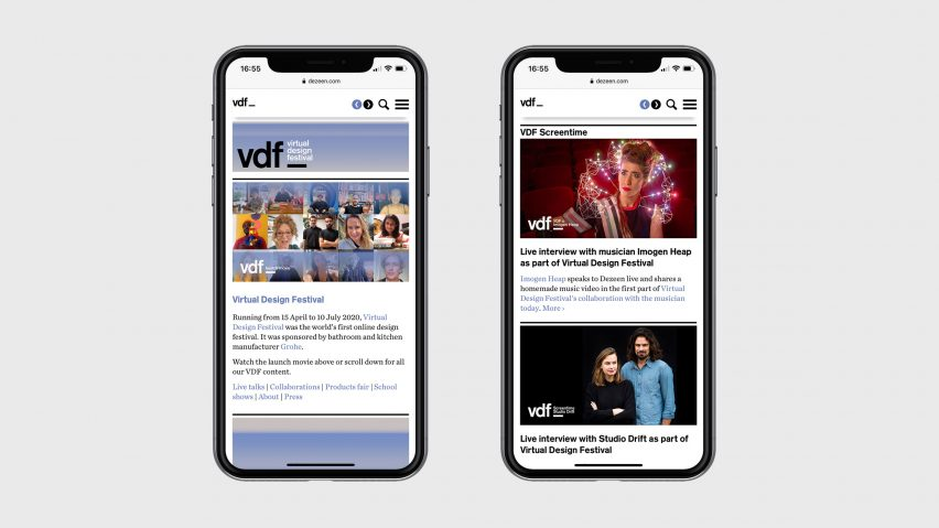 VDF microsite on a phone