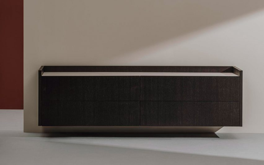 Tempo sideboard wall version in black by Estudio Andreu for Andreu World