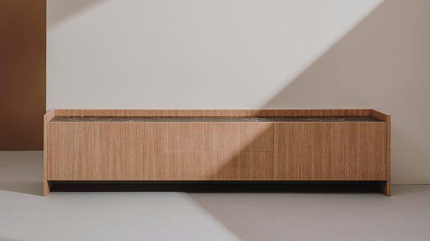 Tempo sideboard leg version in oak by Estudio Andreu for Andreu World