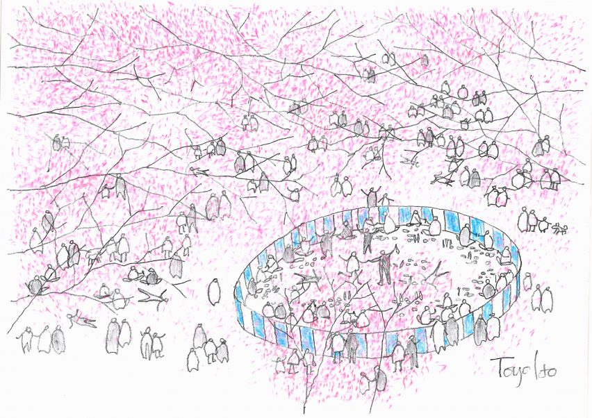 Toyo Ito's Under the Cherry Trees sketch for sale as part of the Architects for Beirut charity auction