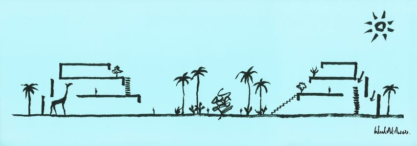 Wael Al Awar's Hayy Creative Hub Concept Sketch
