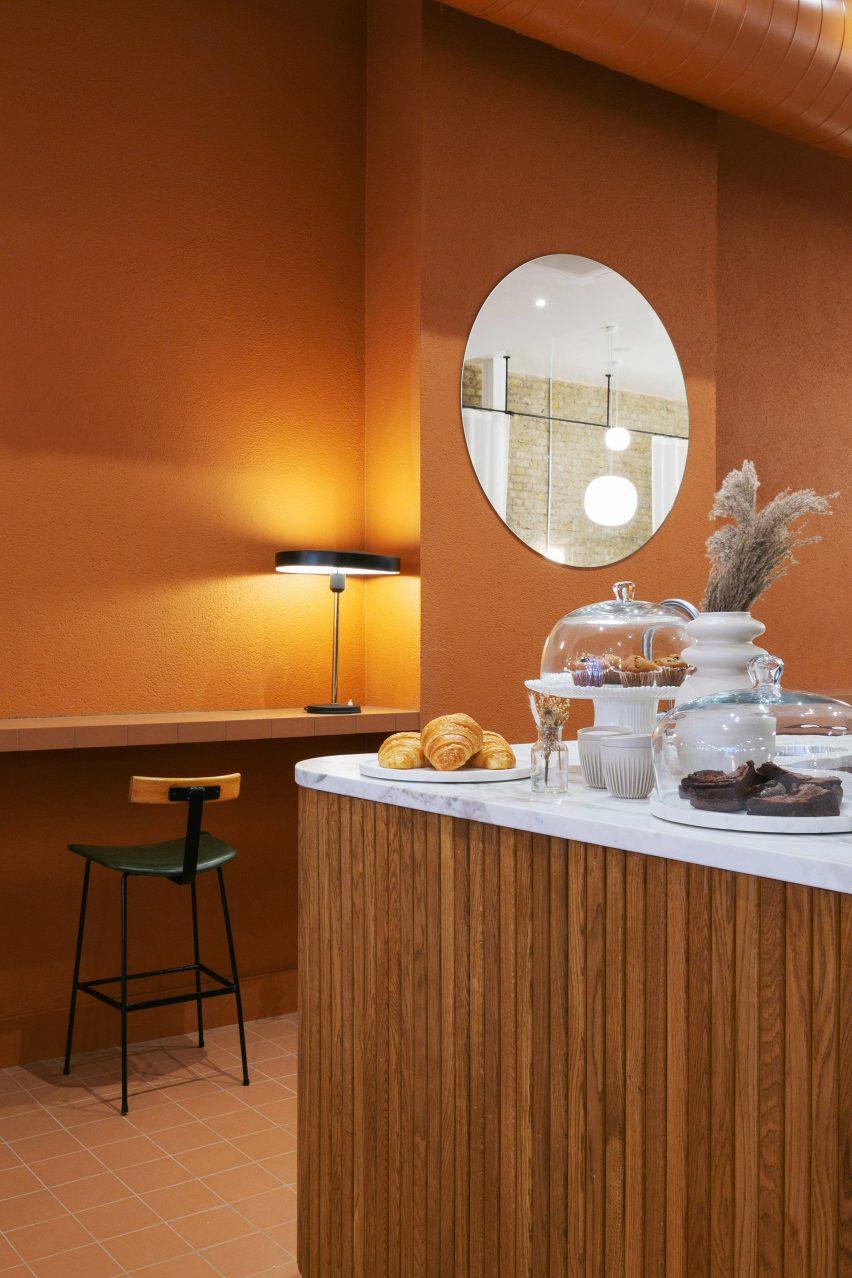 Orange interiors of Beam cafe in London