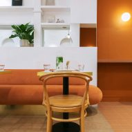 Orange interiors of Beam cafe in London