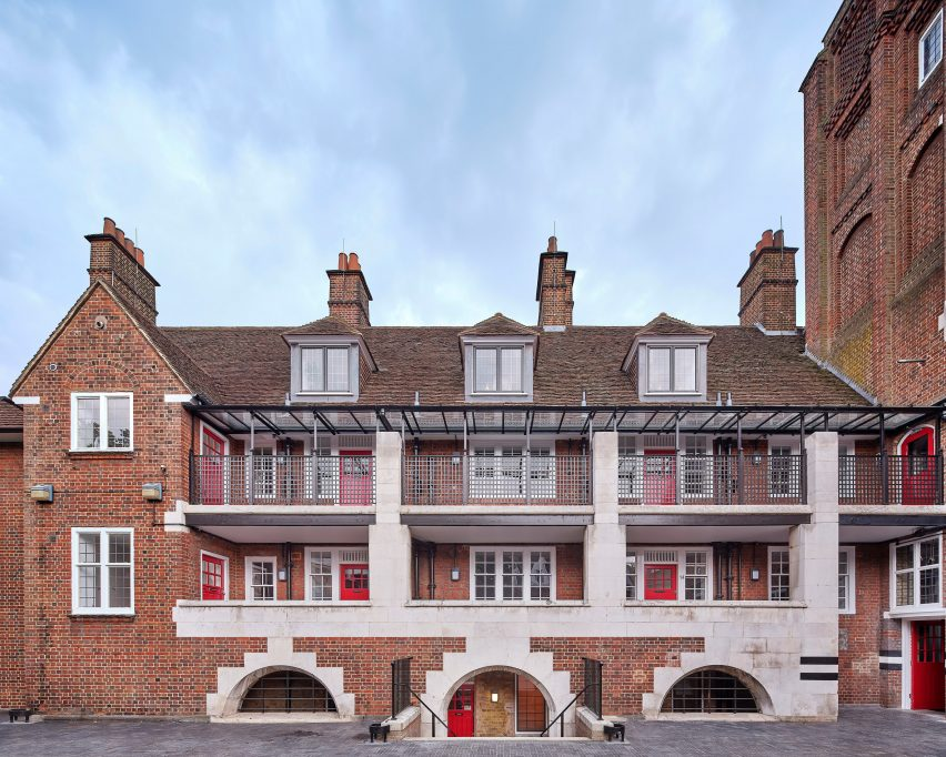Exterior of Belsize Fire Station apartments by Tate Harmer, London